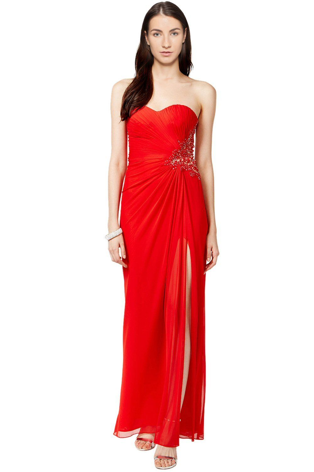 Xscape Women\'s Embellished Slit Pleated Ball Gown Red 14 | Apparel ...