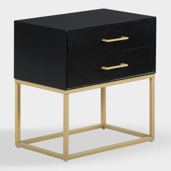 Black And Gold Edie Nightstand With Drawers V1 Gold Furniture