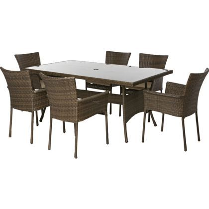 Mali 6 Seater Garden Furniture Set with Stacking Chairs Home