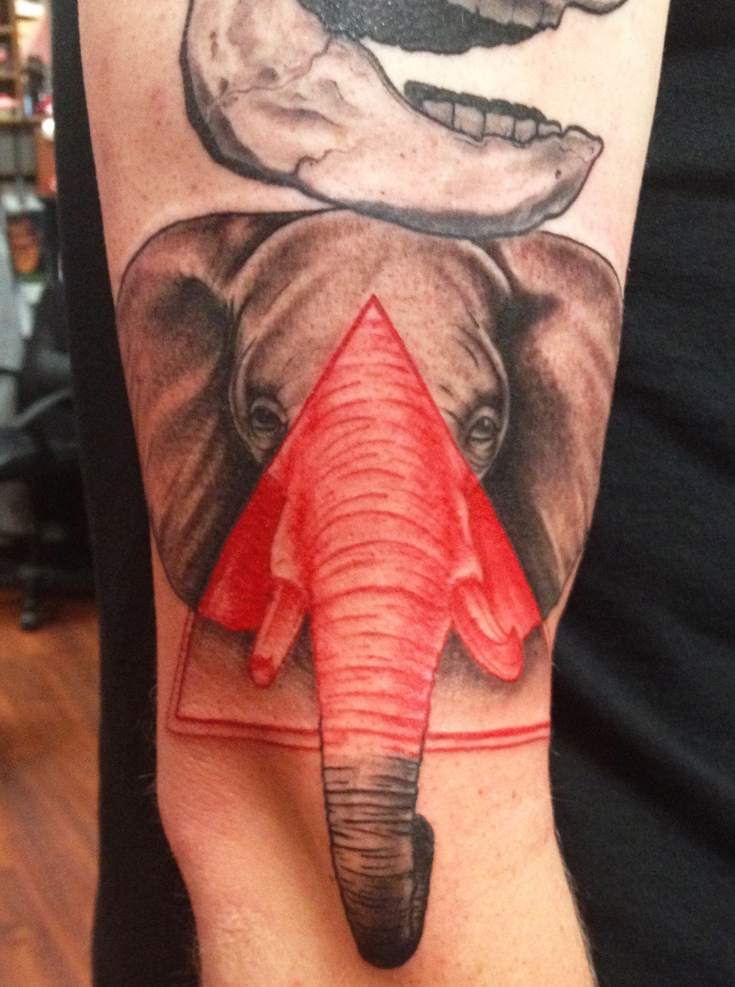 Triangle elephant tattoos pinterest flower tat tatting and tattoo