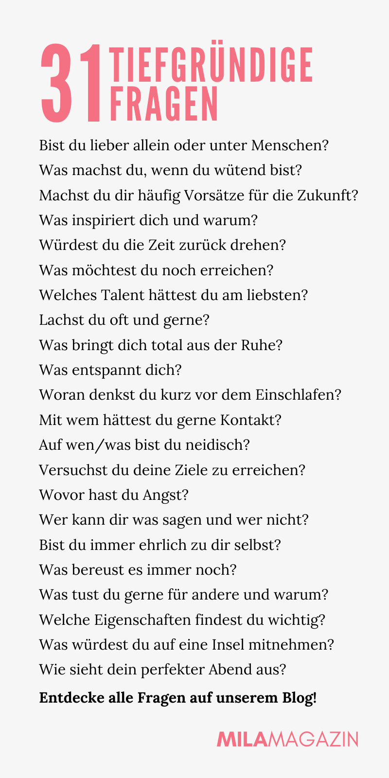 31 tiefgründige Fragen zum nachdenken - #fragen #