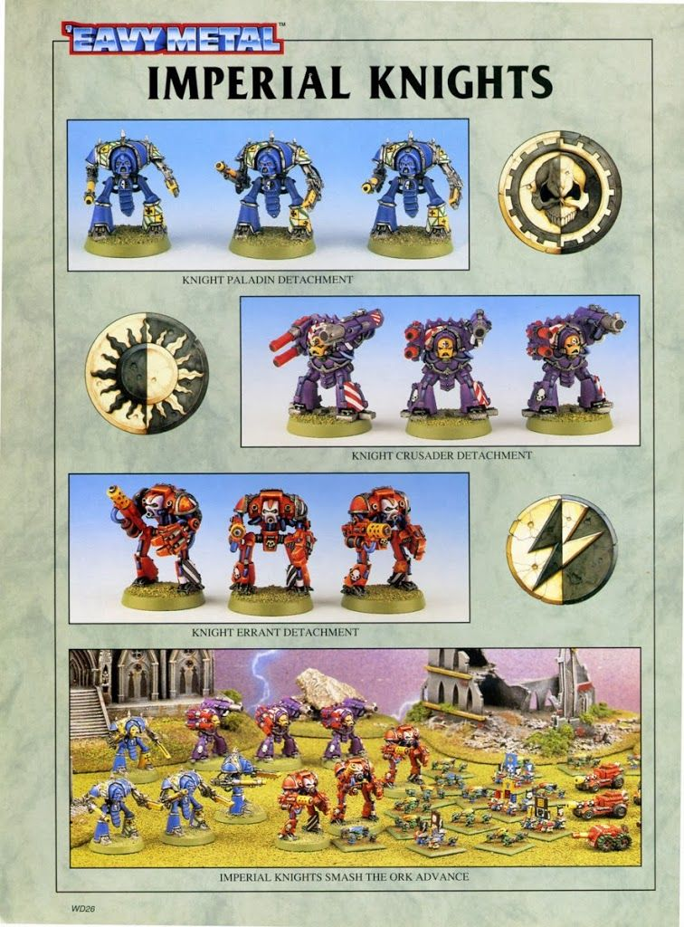 Classic Warhammer Epic Knight Variants Imperial Knight Warhammer 40k Figures Knight