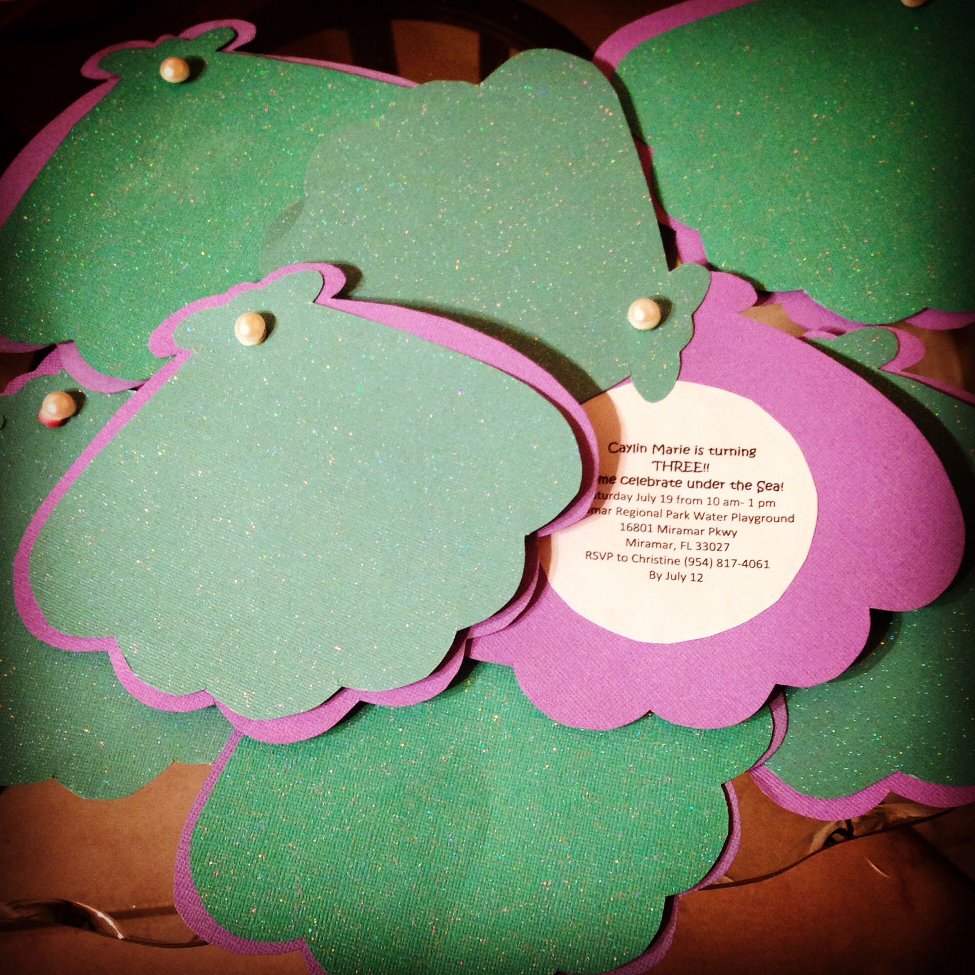 DIY little mermaid invitations for my not so little baby's ...