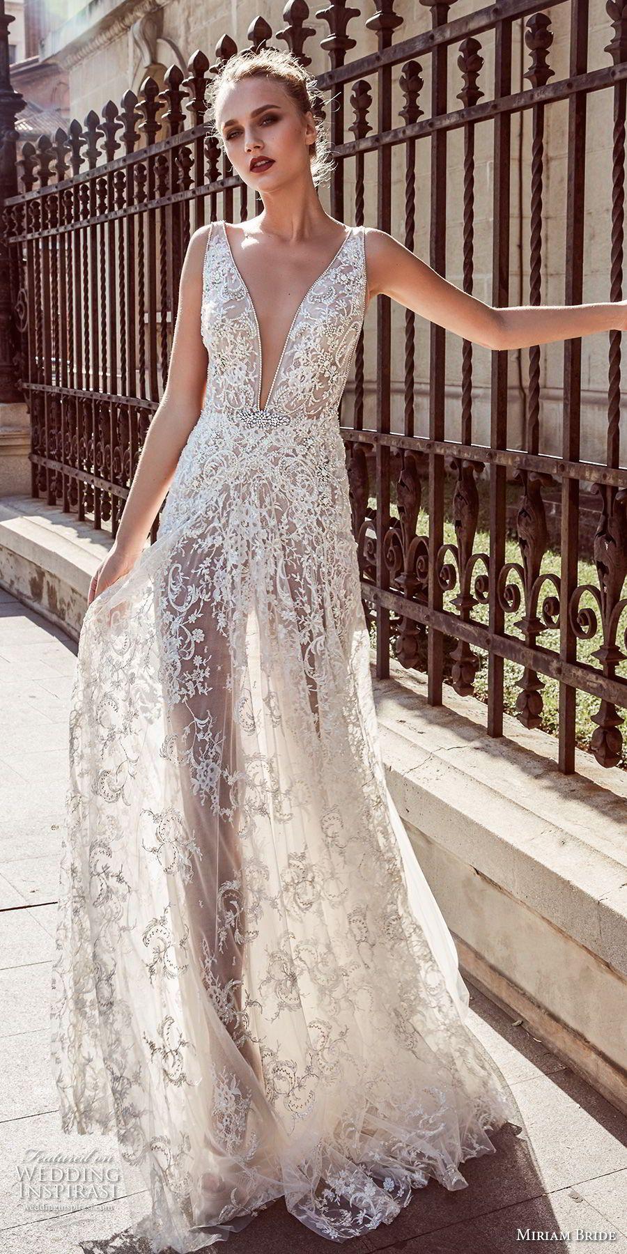 Miriams Braut 2018 Braut sleeveless tiefer V-Ansatz volle ...