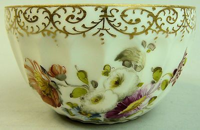 Antique Dresden Hand Painted Floral Design Bowl C.1890 3