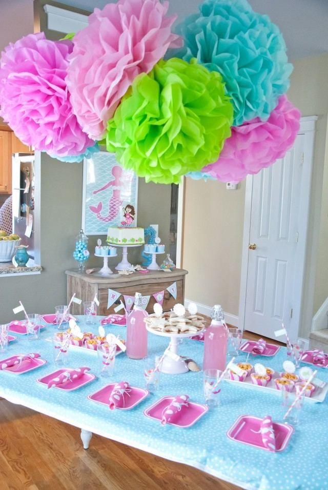 Lovely Kindegeburtstag Zu Hause Deiern Dekorieren Rosa Blau Meerjungfrau Torte.  Tischdeko GeburtstagGeburtstag IdeenKinder ...