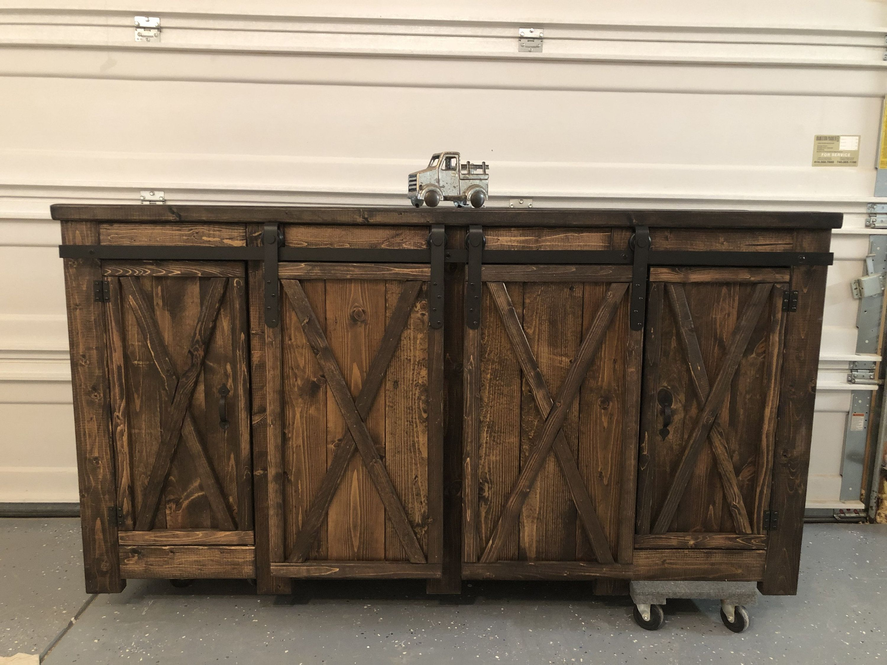 Farmhouse Rustic Style Buffet With Barn Doors Sideboard Farmhouse Style Console With Barn Door Slider And