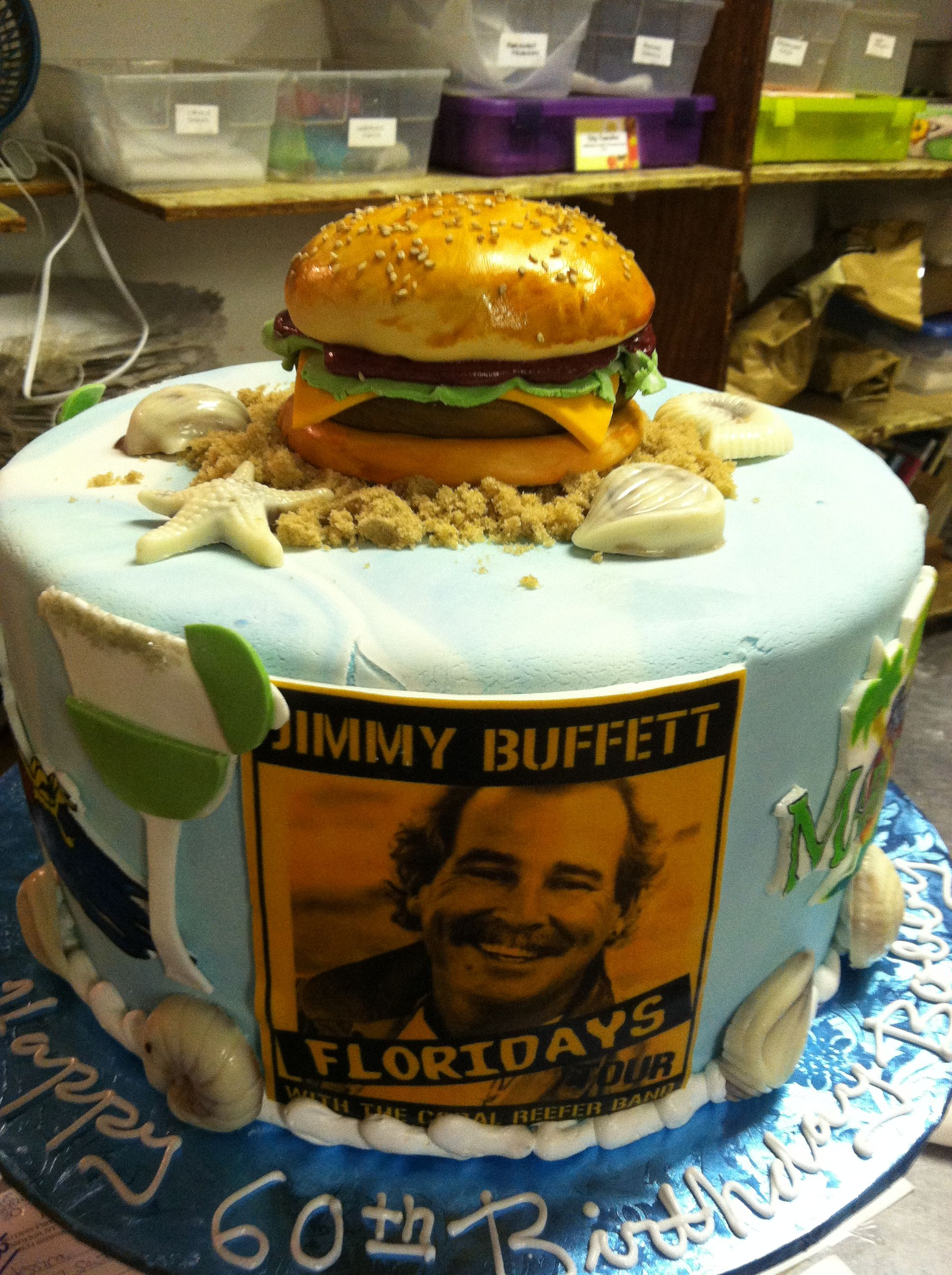 Jimmy Buffett themed cake. Note references to songs ...