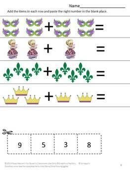 Mardi Gras Math Activities, Kindergarten Math Review, Cut
