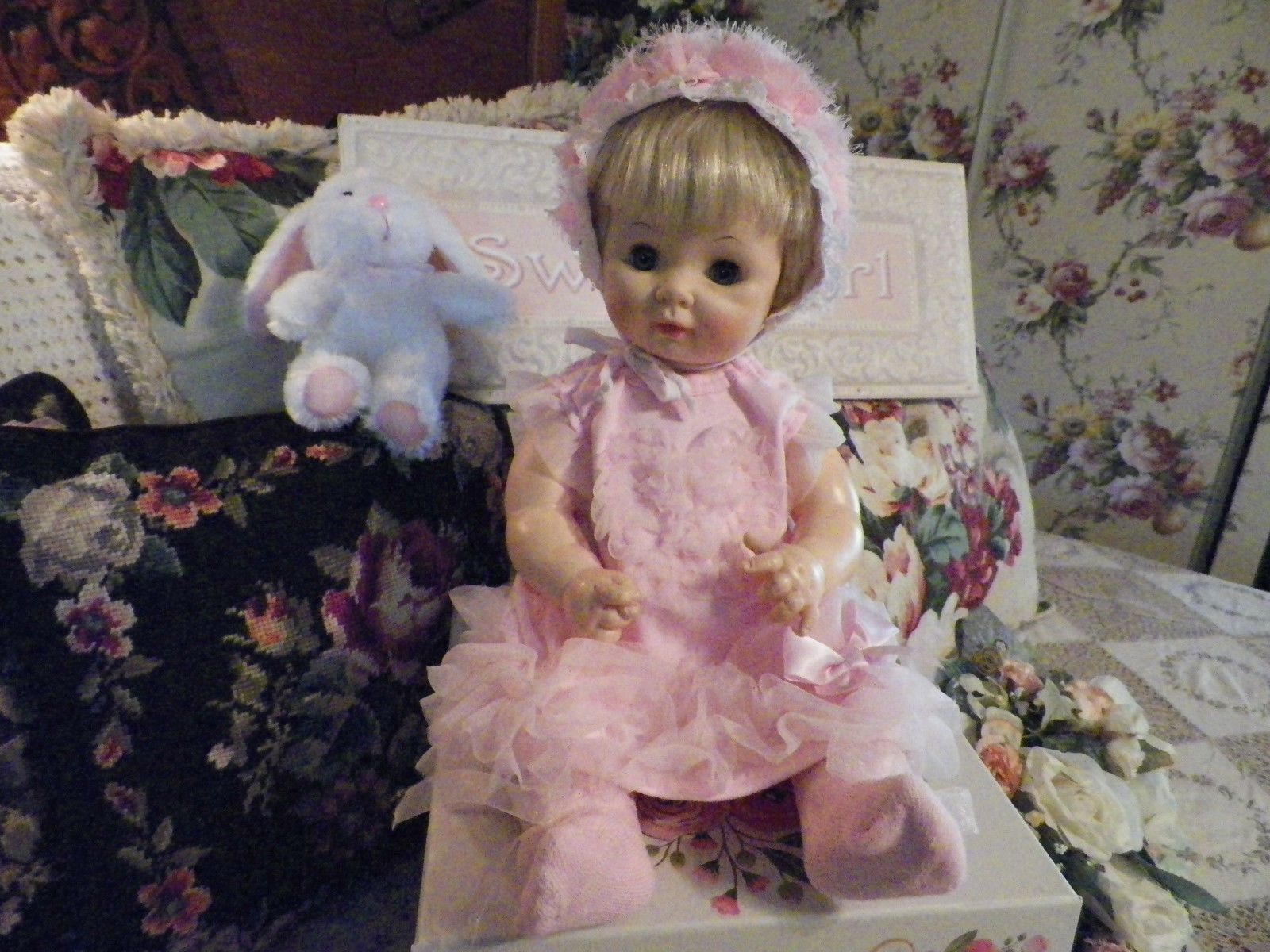 Vintage 1969 Effanbee Baby Doll Adorable Soft Pink Dress w Bonnet & Bunny 17""