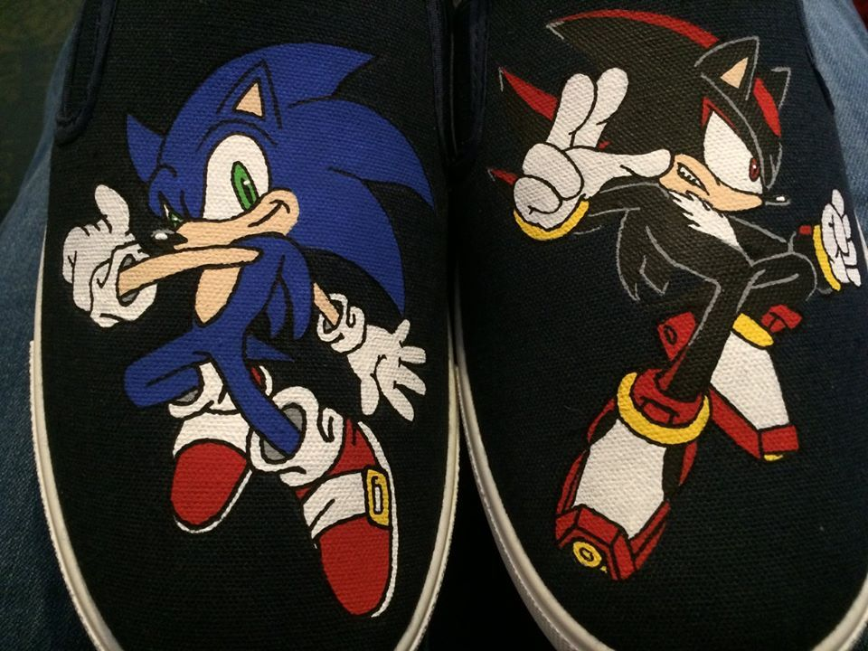 Hand Painted Sonic And Shadow Hedgehog Shoes Sonic And Shadow Painted Shoes Sonic Costume