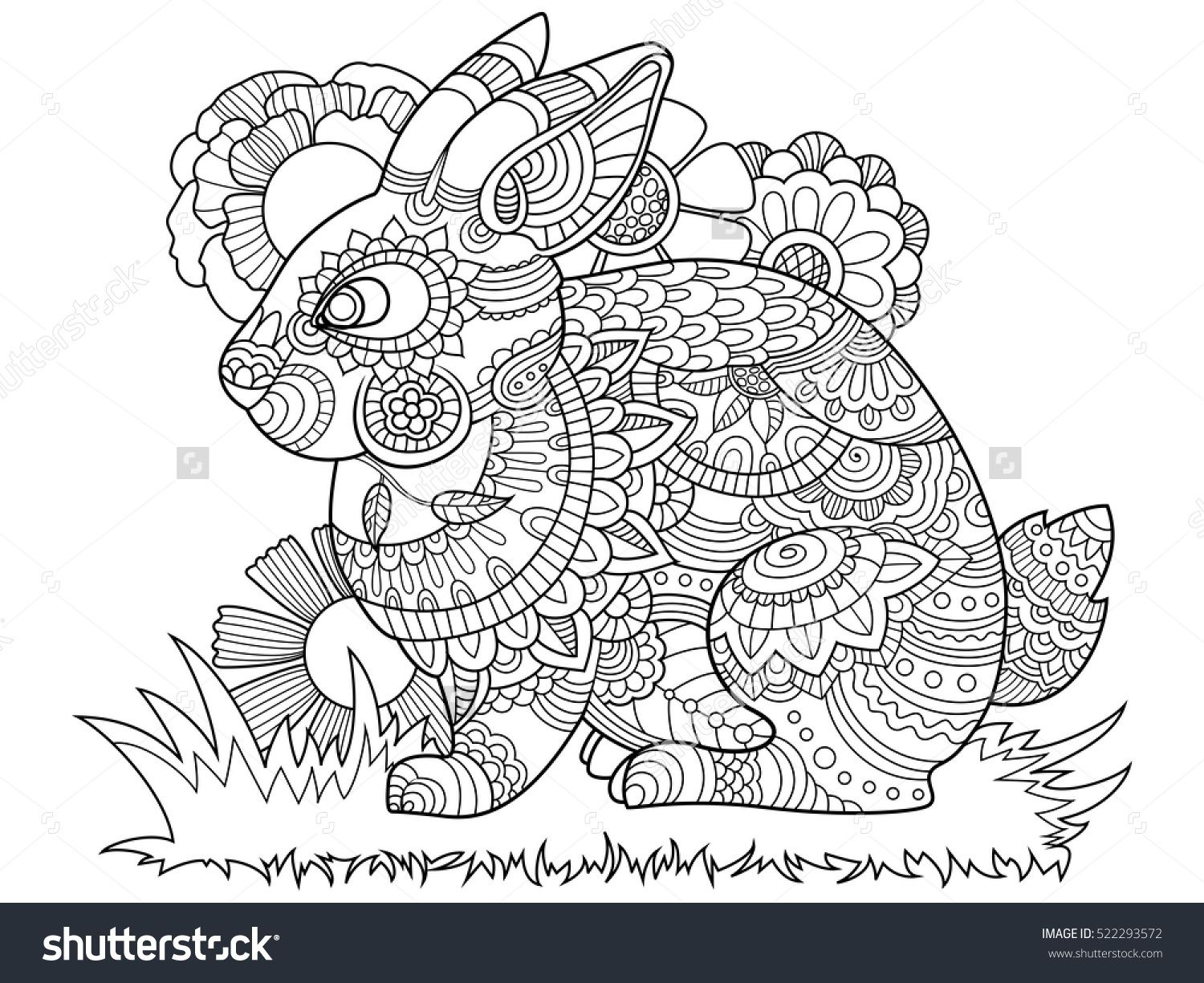 Stress coloring book for adults - Rabbit Bunny Coloring Book For Adults Vector Illustration Anti Stress Coloring For Adult