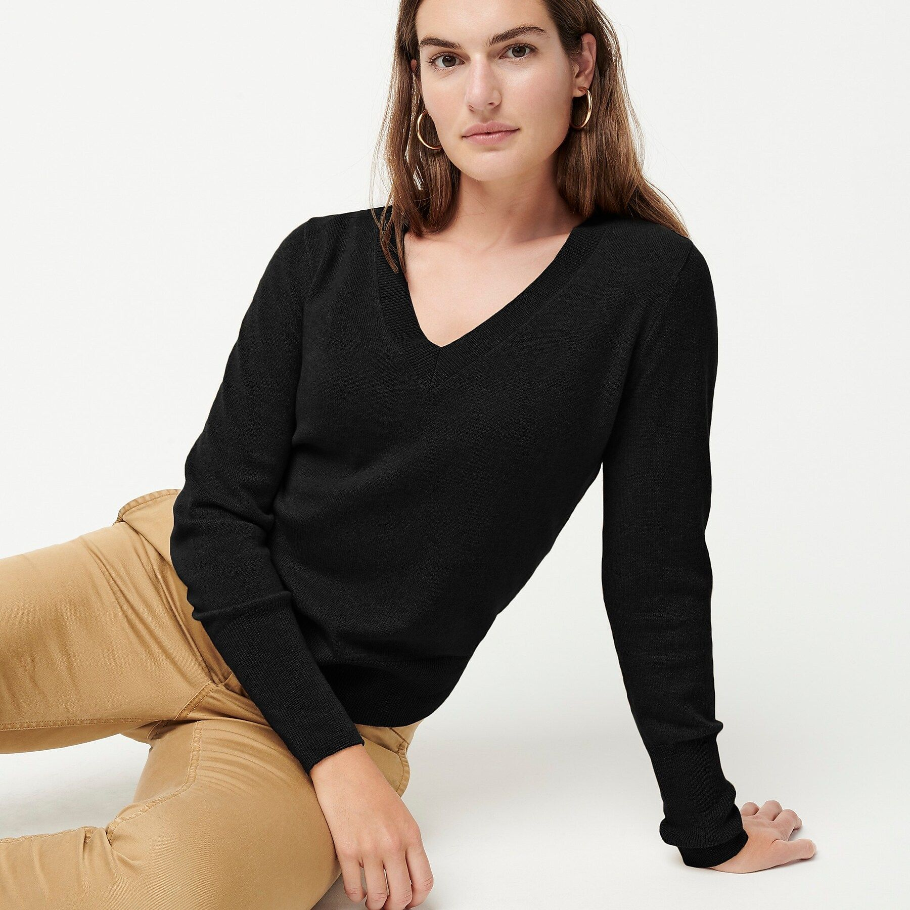 J.Crew: Long sleeve Everyday Cashmere Fitted V neck Sweater