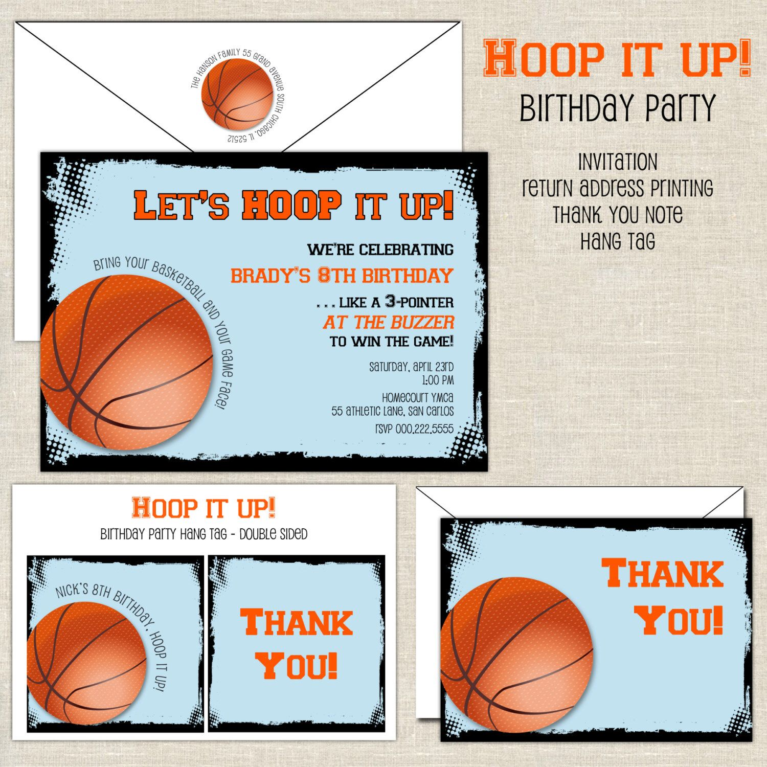 Hoop it Up Basketball Birthday Invitation by paperimpressions on ...