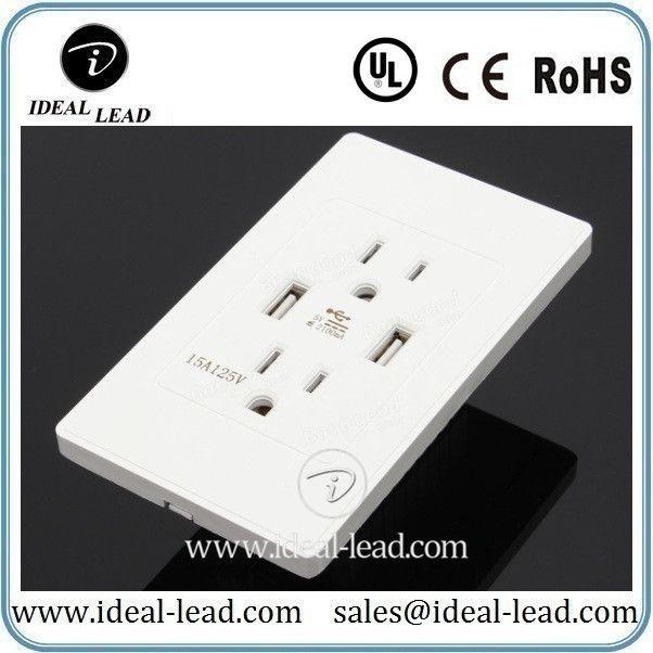 15A American Standard 110V USB Wall Socket Plug Outlet | US Plug Usb ...