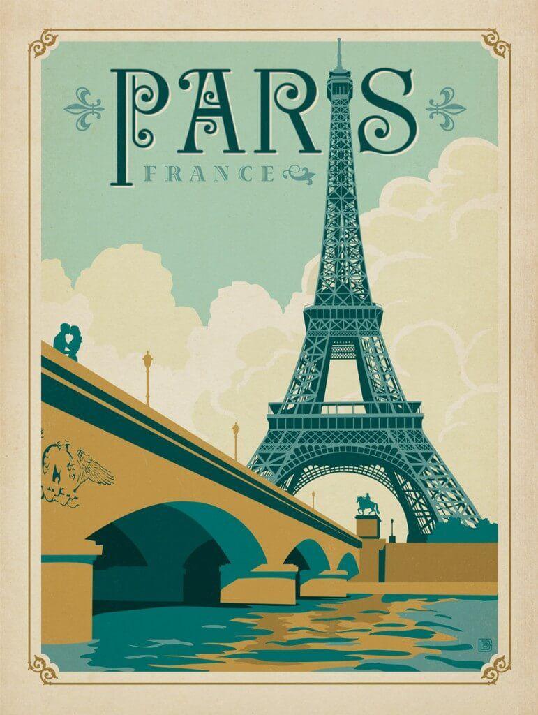 Paris France Eiffel Tower Vintage Travel Poster Art