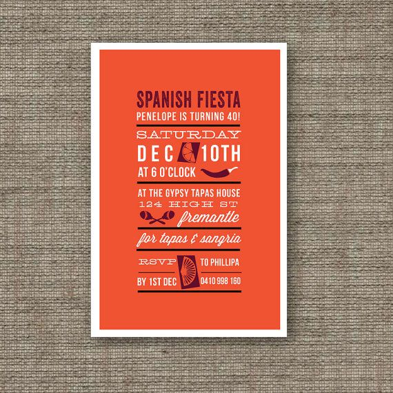 Spanish Party Invites Printable PDF Birthday Fiesta Invitation For 30th 40th 50th 18th 21st Perfect Dinner Or Tapas