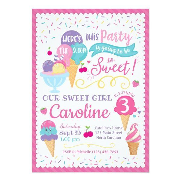 Ice Cream Party Birthday Invitation Scoop Invitation Zazzle Com Ice Cream Party Invitations Ice Cream Birthday Party Invitations Ice Cream Birthday Party Theme