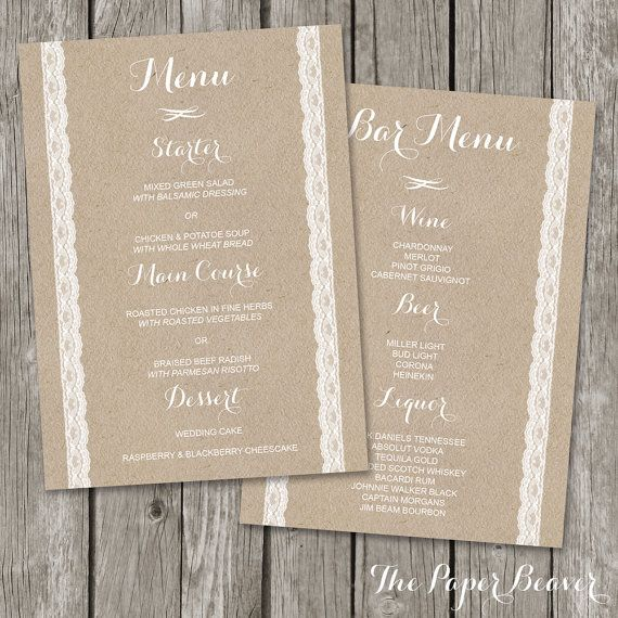 Rustic Wedding Menu - Bar Menu Template - Kraft Wedding Dinner - bar menu template
