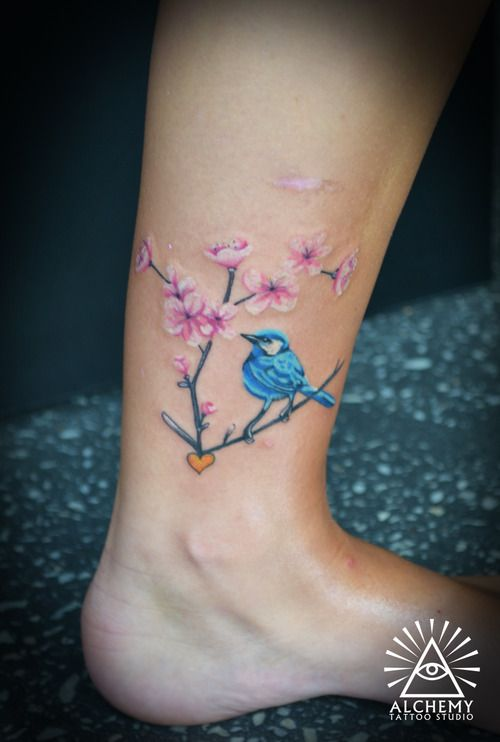 Small Inner Wrist Tattoos Birds: Cute Bird And Flower Branch Tattoos On Ankle