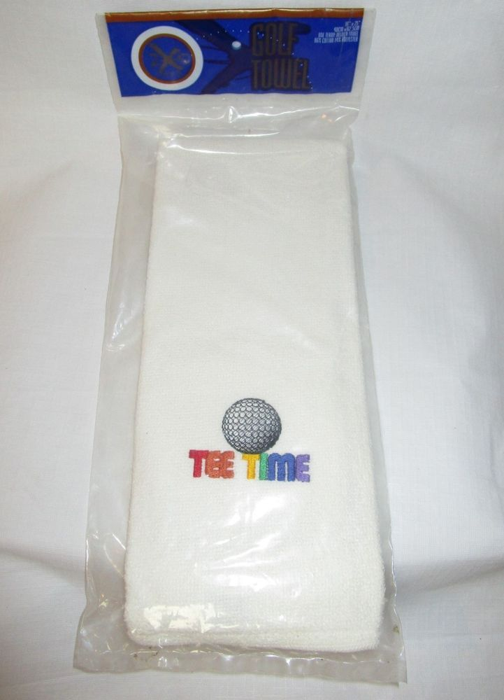 White Terrycloth Golf Towel Tee Time 16 X 25 Inches New
