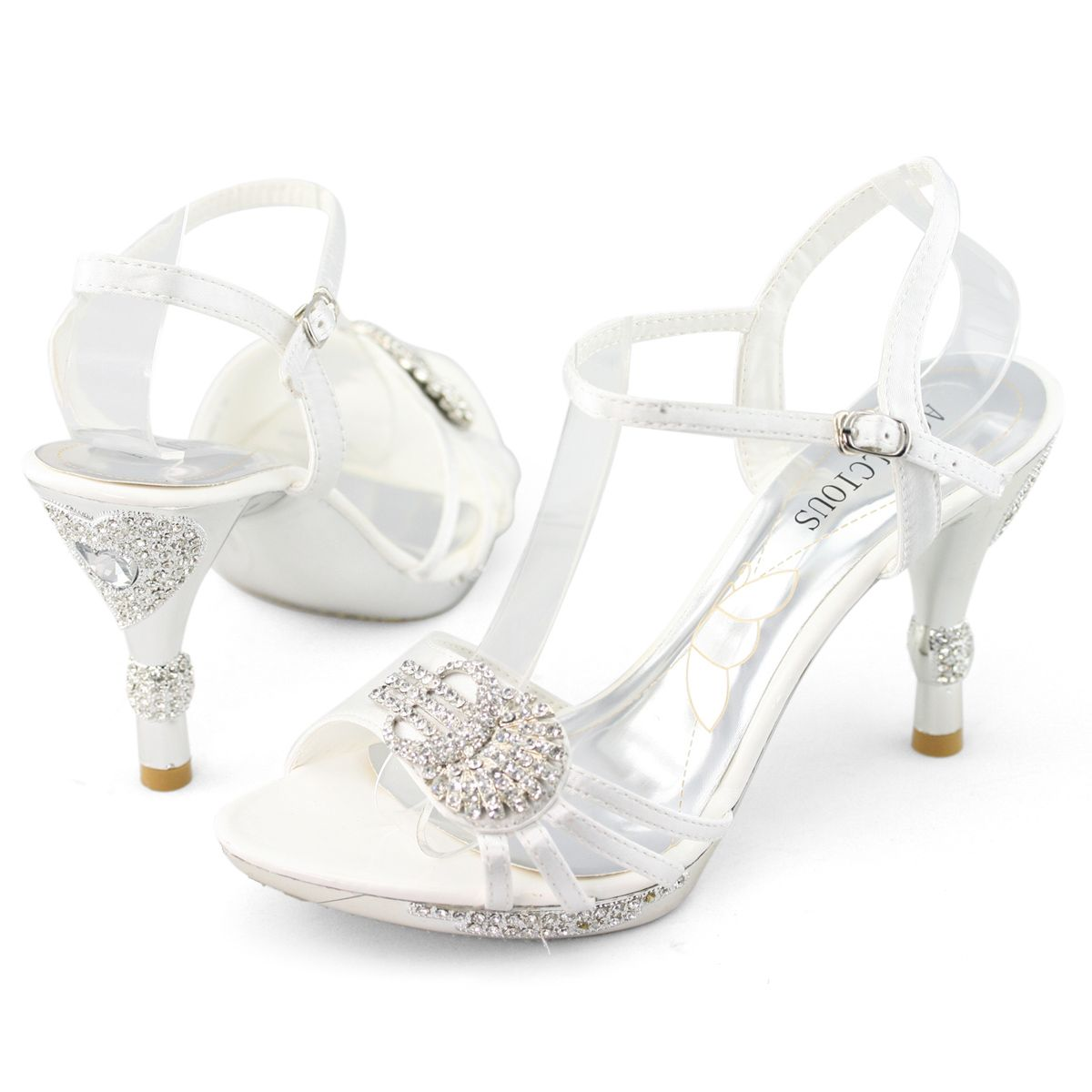 Details about Womens white low heel diamond pumps wedding