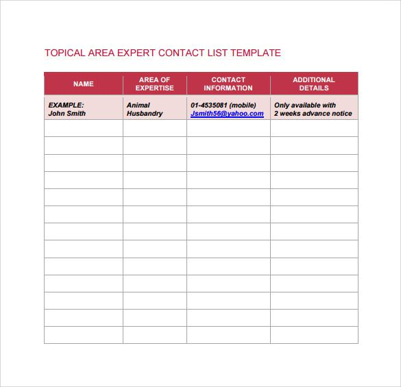 Contact List Template  Word Excel  Pdf Templates  Www