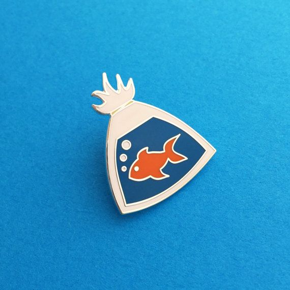 Fish In A Bag Enamel Lapel Pin Badge | Enamel pin | Pin