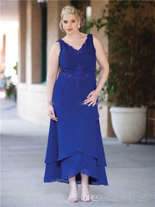 Plus Size Royal Blue Lace Chiffon-Lange Abschlussball-kleid 2016 ...