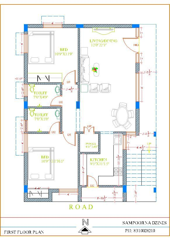 30x40 South Facing 2BHK House Plan First Floor