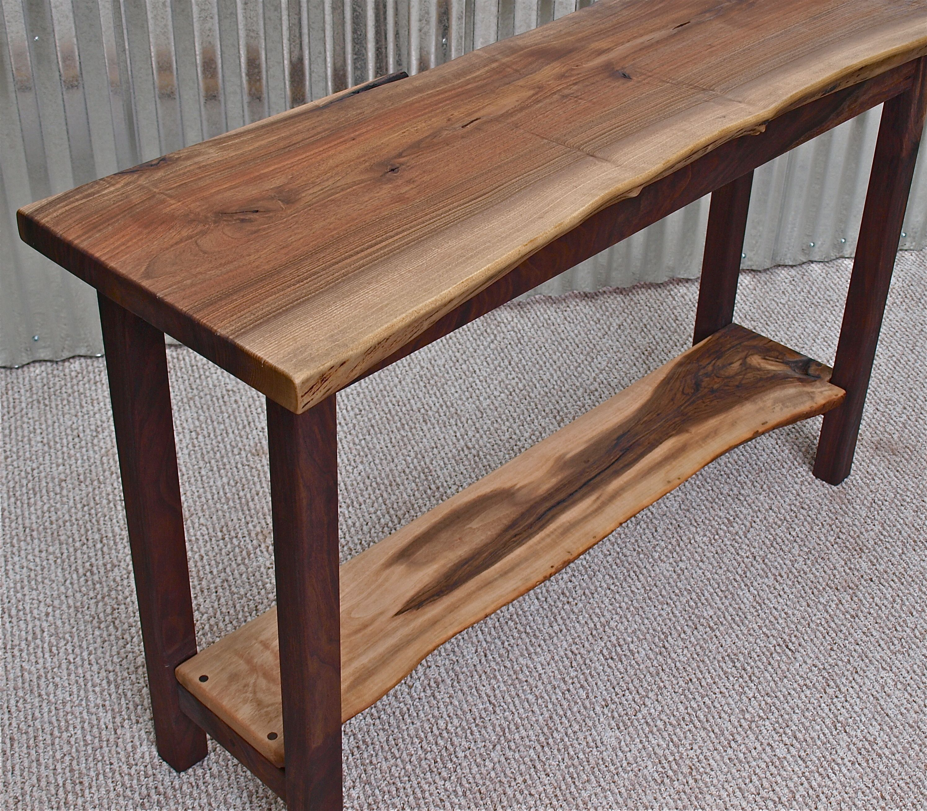 Live Edge English Walnut Sofa Table With Black Walnut Base Diy