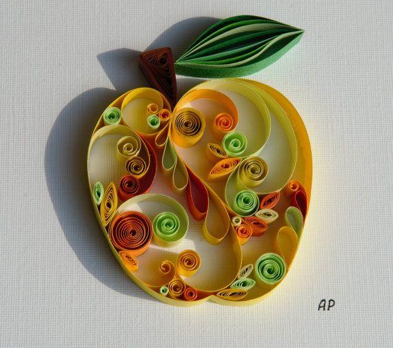 Unique Framed Quilled Paper Art: Sweet Apple / Apple by ArtsShopAP