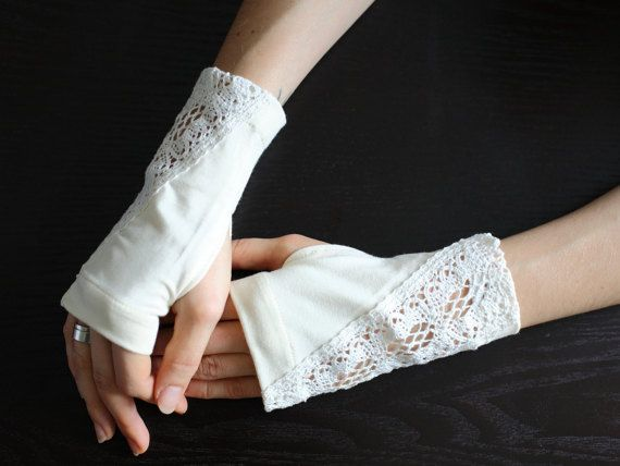 Сhampagne arm warmers decorated with lace steampunk fingerless ...