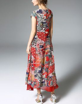 Red Silk Floral Print Two Pieces Maxi Dress