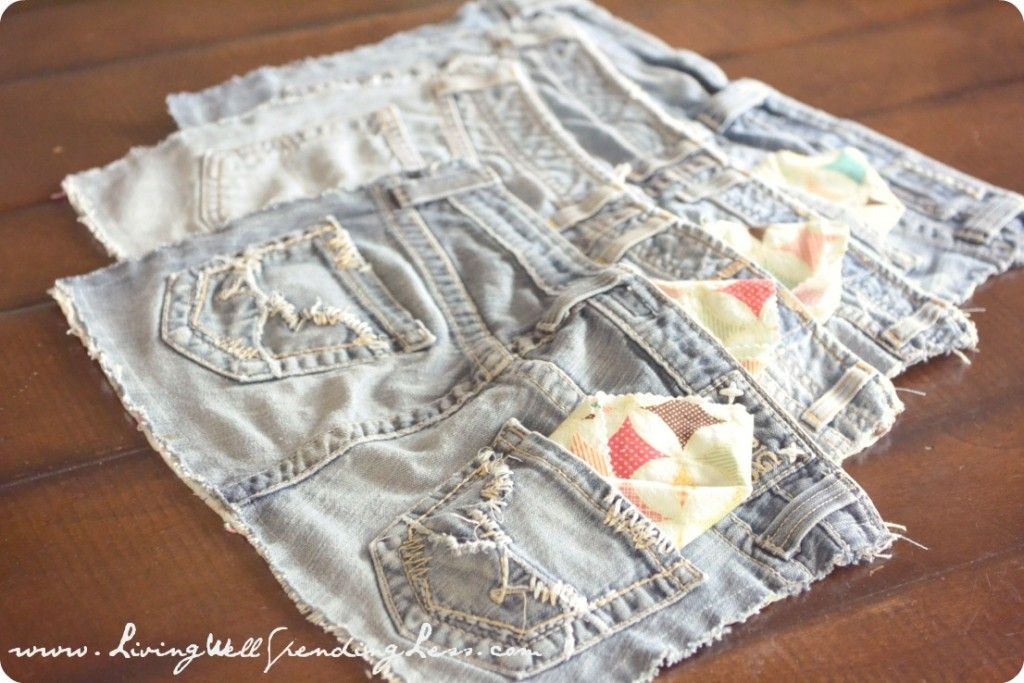 Upcycled Denim Placemats   New Use for Old Jeans   How to Recycle Jeans