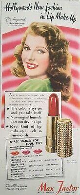 (Link eBay) Trucco rossetto stampa vintage annuncio max fattore Rita Hayworth 1947 11,54 …