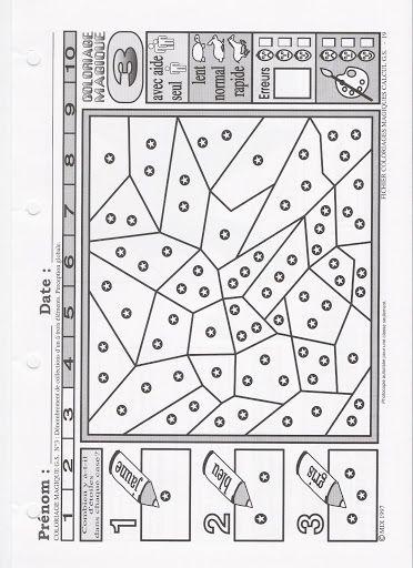 Coloriage Magique Gs Numeration.Coloriage Magique Denombre De 1 A 3 Points Numeration