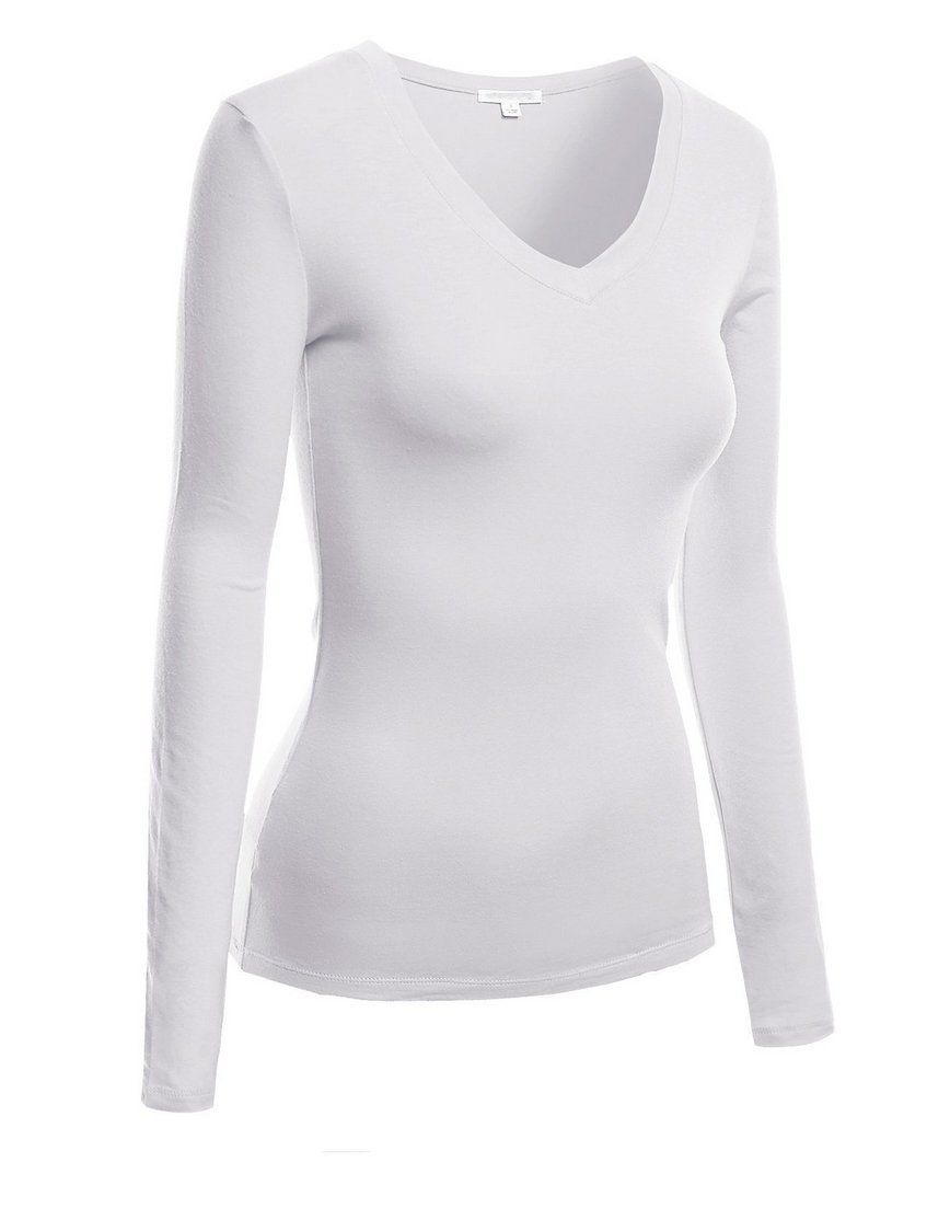 21b1bacbf9 Hollywood Star Fashion Women s Long Sleeve V-Neck Tee Tank Top Shirt at  Amazon Women s Clothing store  Tank Top And Cami Shirts