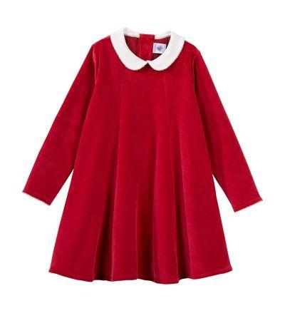 robe fille manches longues godet en velours rouge amour. Black Bedroom Furniture Sets. Home Design Ideas