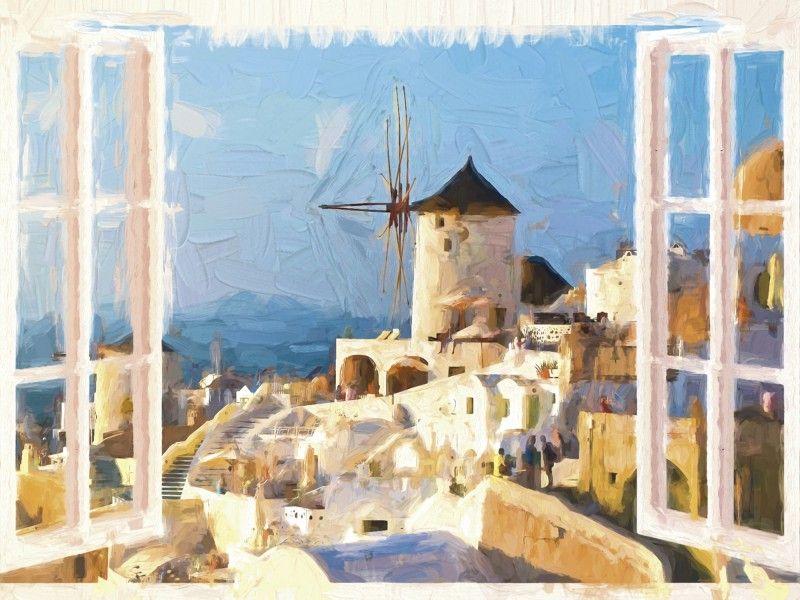Uta Naumann: Blick durch das Fenster auf Santorin