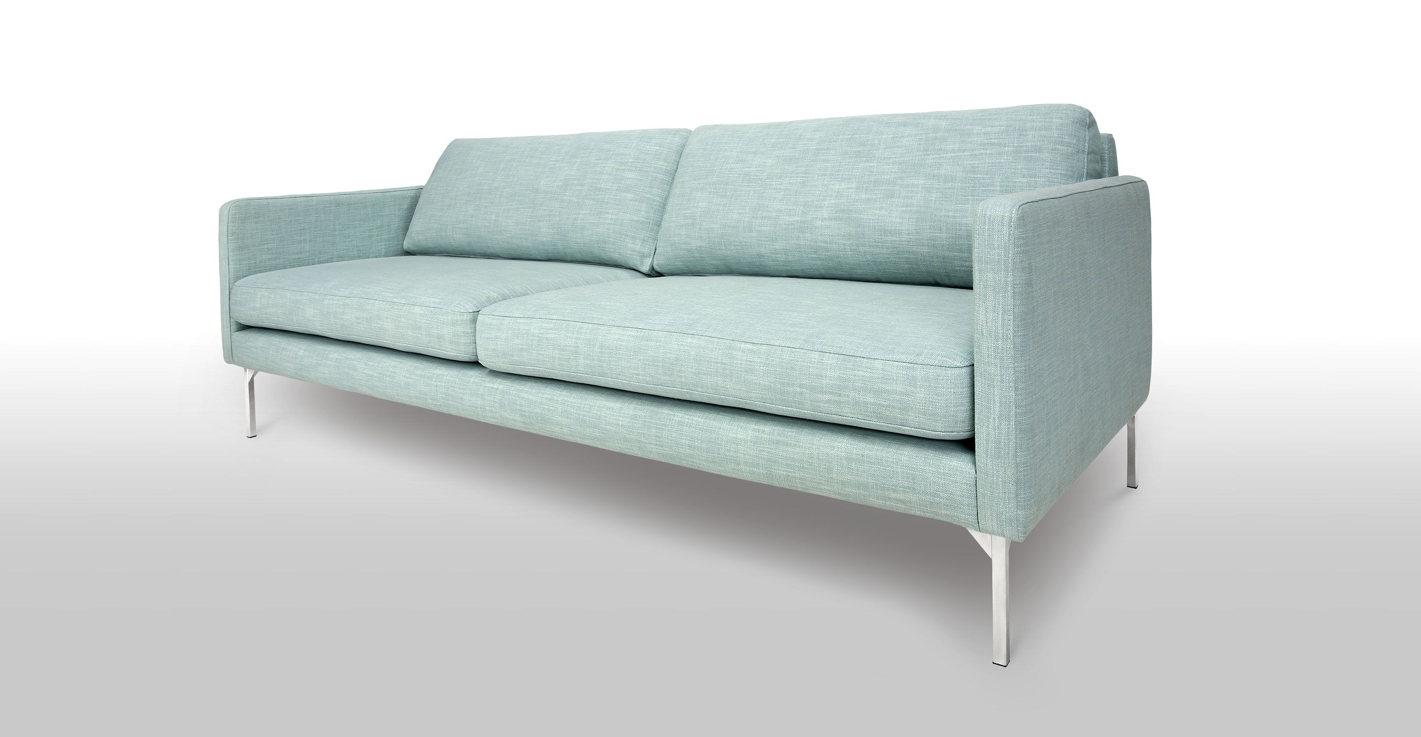 Aqua Blue Sofa 3 Seater Steel Legs