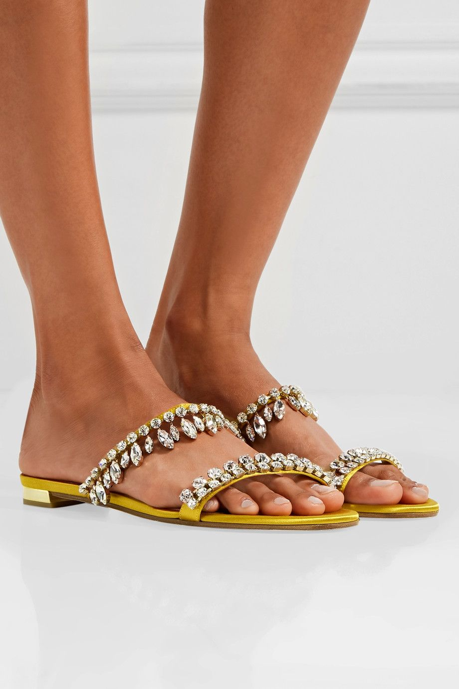 Aquazzura Eden embellished satin sandals discount enjoy newest cheap online discount real very cheap sale online best prices for sale hOsvxrVeG6