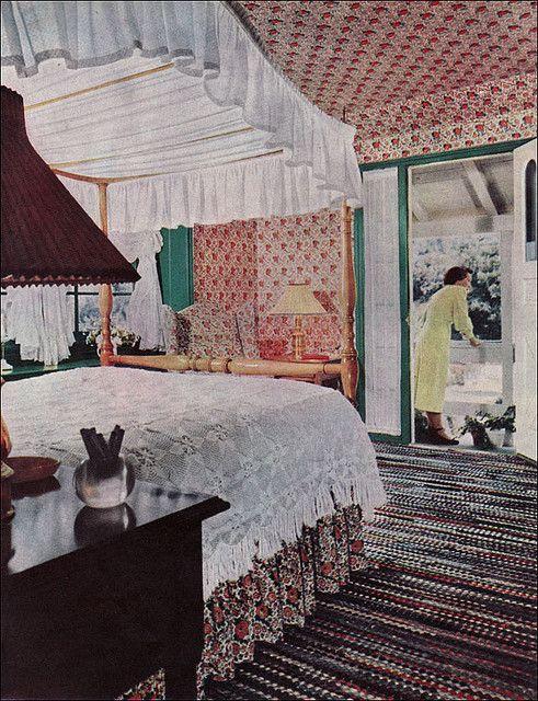 Retro Bedroom Interior Design: 1951 Early American Bedroom In 2019