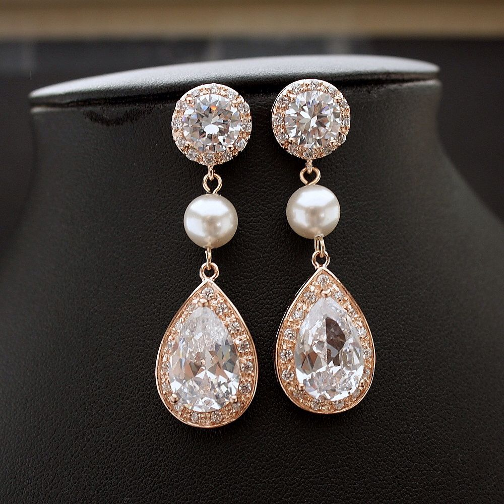 Bridal Earrings Rose Gold Clear Cubic Zirconia Teardrop Rose Gold Pearl Earrings  Wedding Jewelry Rose Gold Bridal Jewelry, Perley