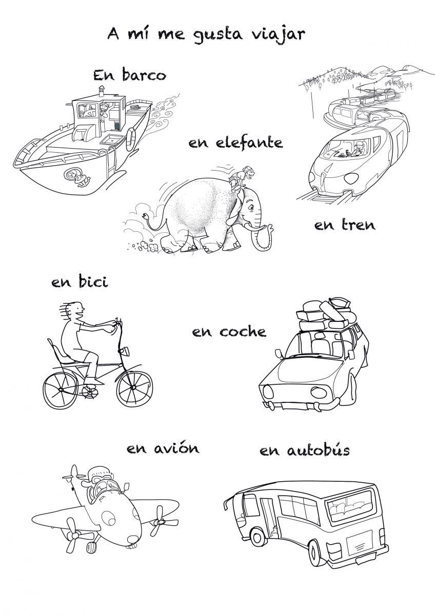 Spanish song to teach means of transportation by sea, air