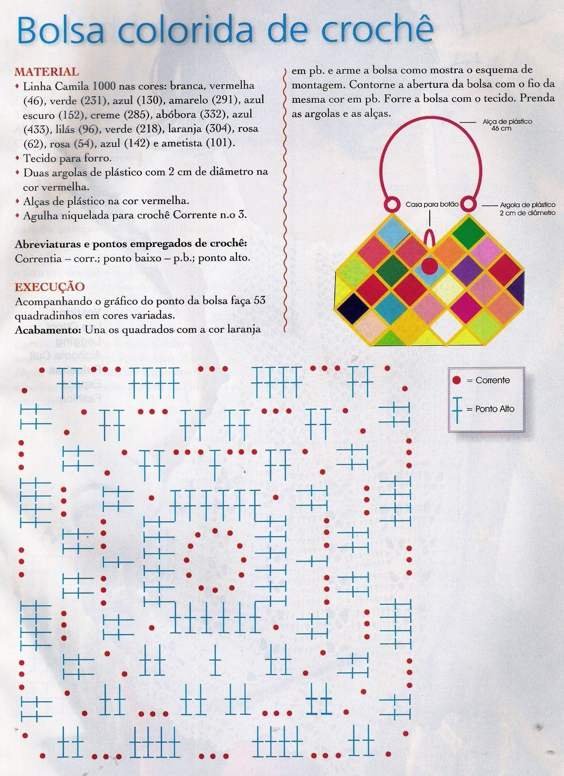 Patrones Crochet: Bolso Cuadros-Rombos Crochet Patron | Hilos ...