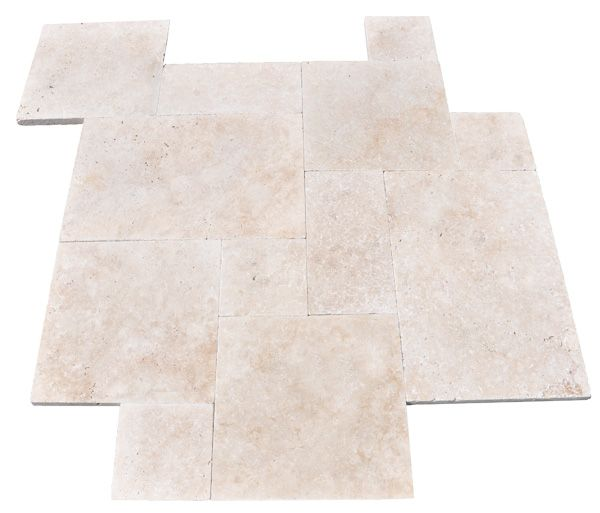 Pattern Tumbled Ivory Travertine Pavers Are The Lightest