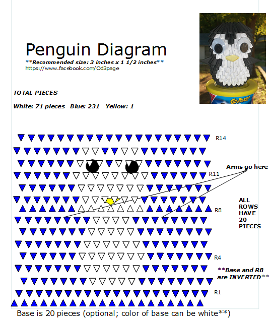 3d Origami Diagram Animals Suburban Rv Furnace Thermostat Wiring One Of My Favorites Penguin 6 Pinterest Tutorial Instructions Modular
