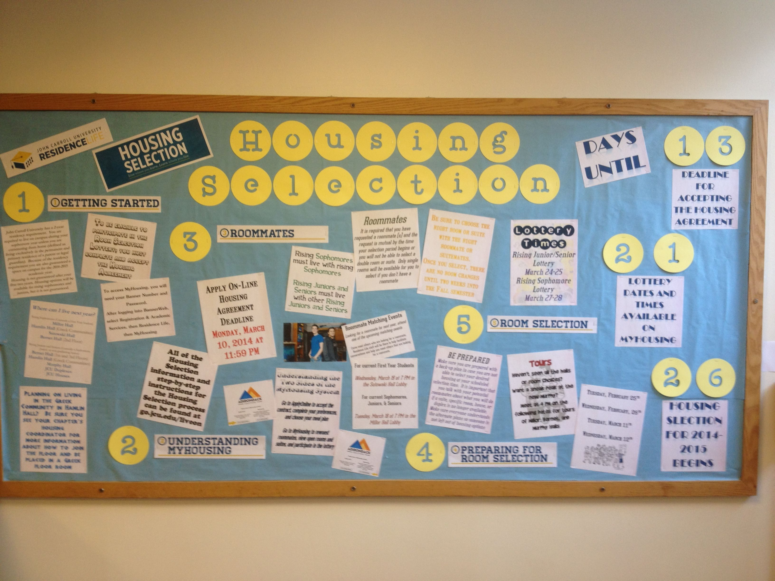 20142015 bulletin board on the housing selection process