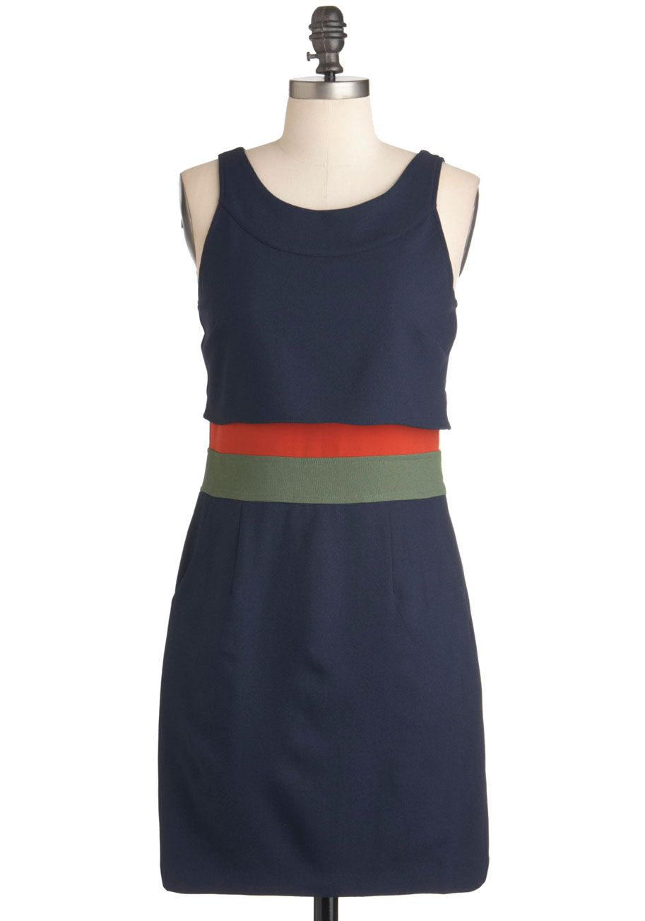 Playfully functioning knit top s mod blue orange and mid length